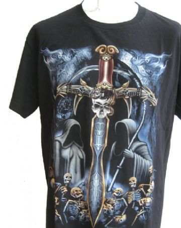 The Skull Sword ' Glow In The Dark ' T Shirt With Large Colour Back Print